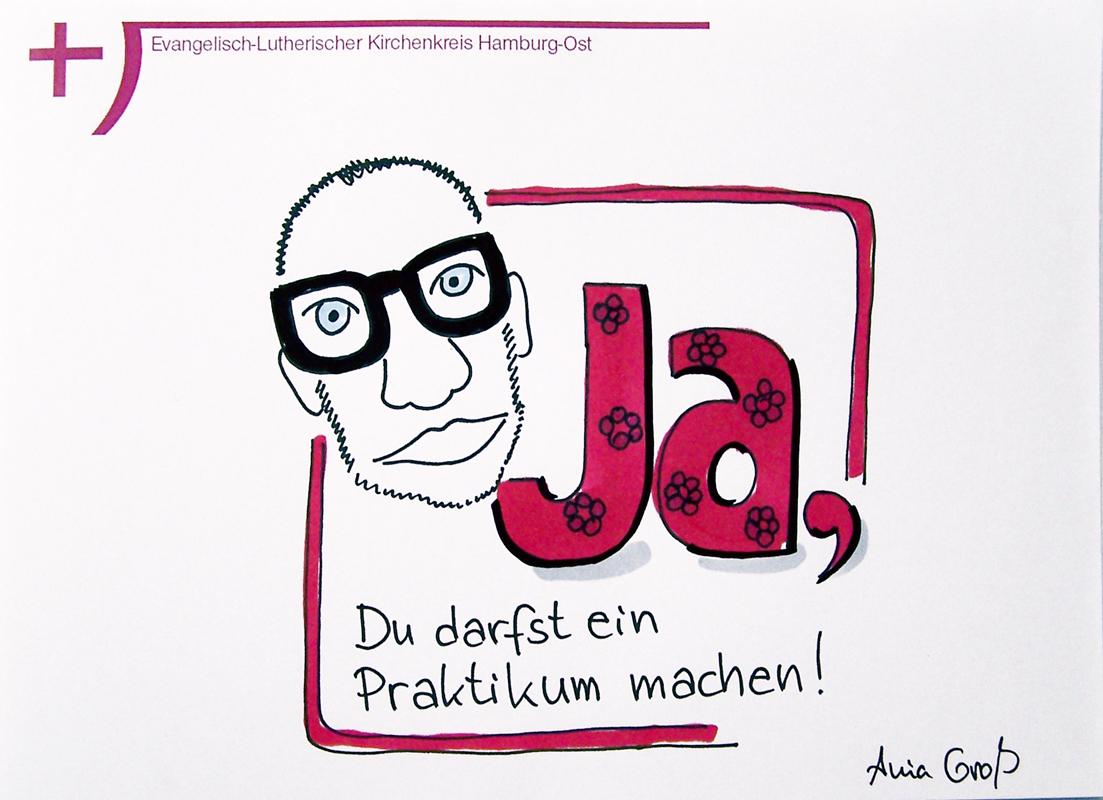 Ja, du kannst ein Praktikum machen. Das Bild zeigt den Ausbildungsleiter, Mathias Sommerfeld. @ Sketchnotes: Ania Groß