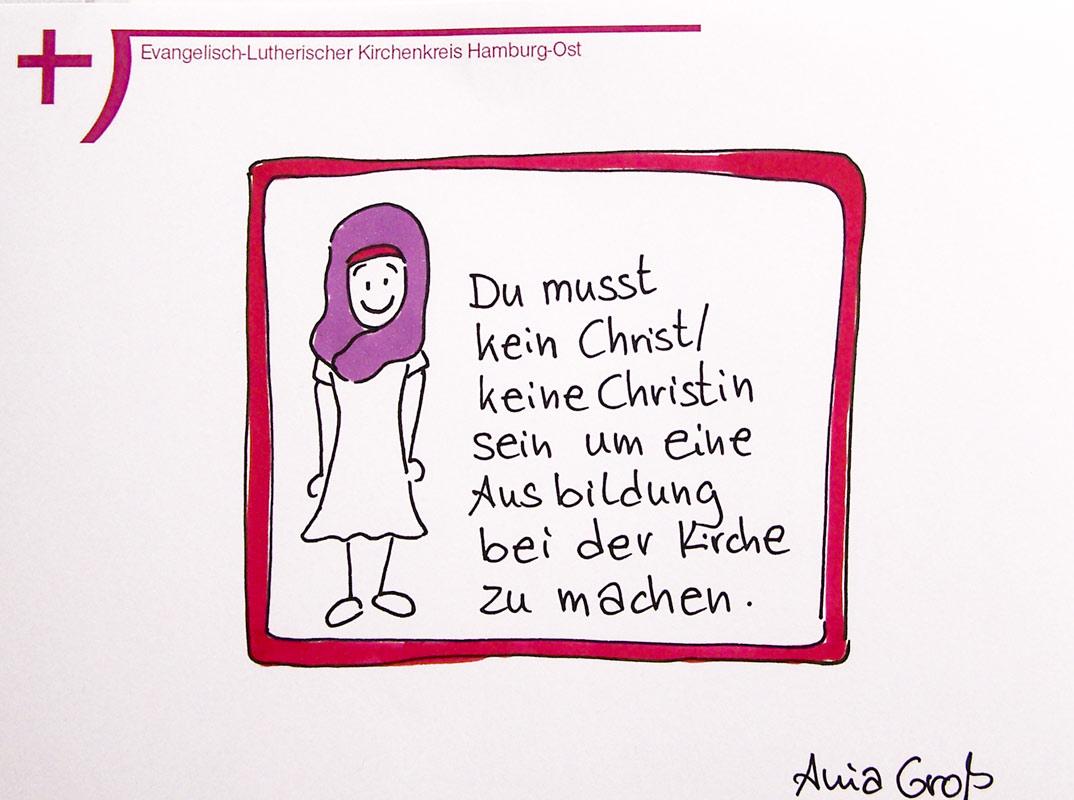 Nein, für die Ausbildung selbst muss man nicht christlich getauft sein. @ Sketchnotes: Ania Groß