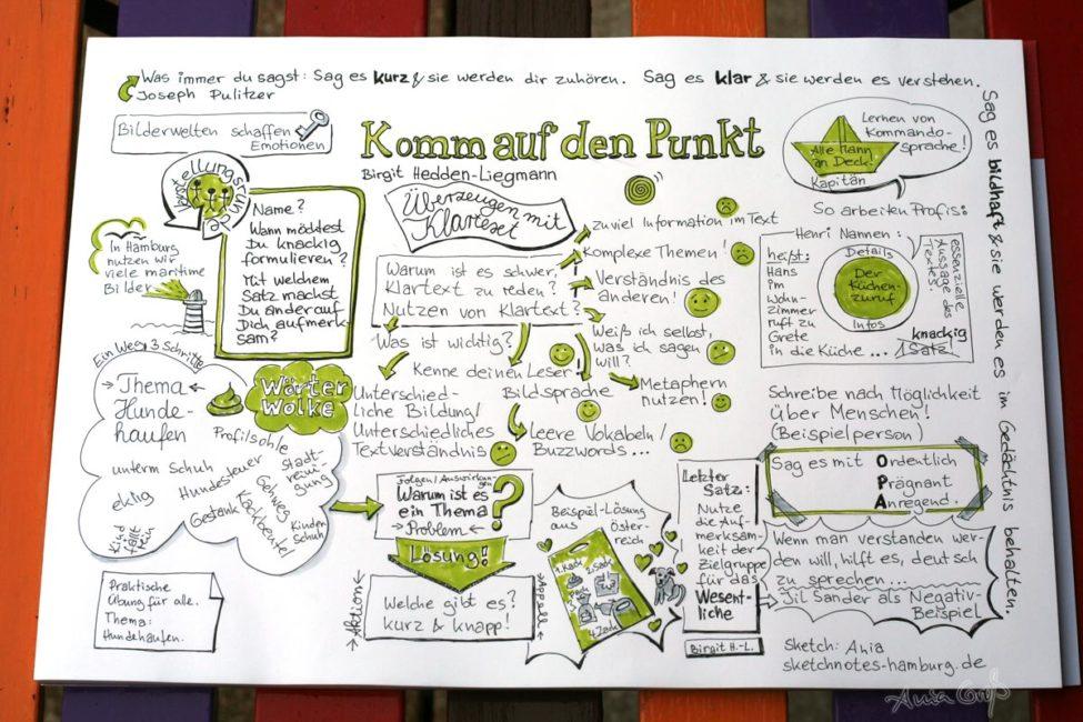 Birgit Hedden-Liegmann: Komm auf den Punkt, Graphic Recordings von Ania Groß