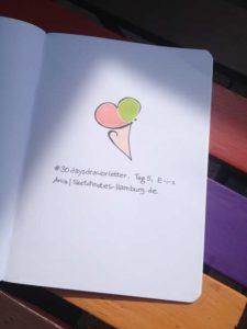 Tag 5. Eis (Buchstaben ergeben das Bild eines Waffelhörnchens mit zwei Kugeln Eis darin). Zeichnung und Foto: Ania Groß