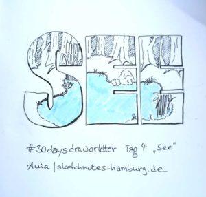 Tag 4. See (Schriftzug mit Seebild gefüllt). Zeichnung und Foto: Ania Groß