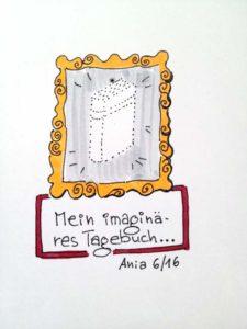 Tag 12. Tagebuch (Bild von einem Tagebuch auf dem KEIN Tagebuch drauf ist). Zeichnung und Foto: Ania Groß