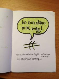 Tag 13. Ich bin dann mal weg (Sprechblase über Comic-Symbol für Geschwindigkeit). Zeichnung und Foto: Ania Groß