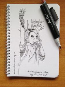Tag 14. Urlaubsfeeling (Die Freiheitsstatue sieht aus wie ich und trinkt Latte Macchiato). Zeichnung und Foto: Ania Groß