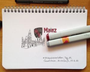 Tag 15. Countdown (Bild vom Mainzer Domm, weil ich demnächst nach Mainz fahre). Zeichnung und Foto: Ania Groß