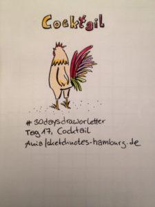 Tag 17, Cocktail. Der prächtige Schwanz eines Hahns (auf englisch Cocktail).Zeichnung und Foto: Ania Groß