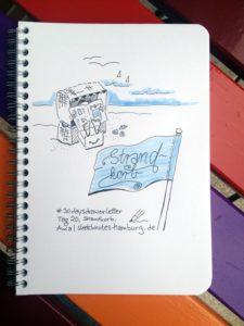 Tag 20, Strandkorb. Zeichnung und Foto: Ania Groß