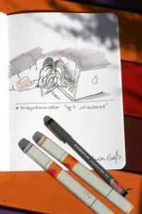 Tag 3. Urlaubsreif (Zusammengebrochen am Rechner). Zeichnung und Foto: Ania Groß