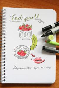 Tag 9. Endspurt (Wie innerhalb von 5 Minuten von einer Schale Erdbeeren nur noch zwei übrig sind). Zeichnung und Foto: Ania Groß