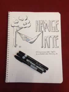 Tag 22, Hängematte. Die Hängematte bildet den Buchstaben M im Wort. Zeichnung und Foto: Ania Groß