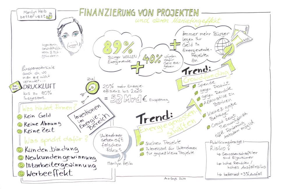 Grphic Recording über Finanzierung von Erneuerbare-Energien-Projekten. U. a. liegen Crowdfunding und Energieagenturen im Trend. Zeichnung und Foto: Ania Groß.
