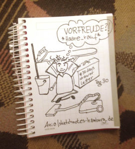 """Tag 30. Die """"Vorfreude"""" hält sich bei mir oft in Grenzen, weil vor Reisen so viel erledigt werden muss. Zeichnung und Foto: Ania Groß"""