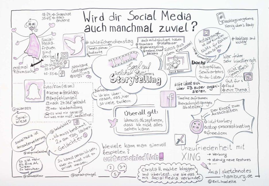 Das visuelle Protokoll zeigt viele Zitate der Frauen, einige Zahlen sowie Hinweise zu einzelnen Plattformen. Graphic Recordings und Foto: © Ania Groß