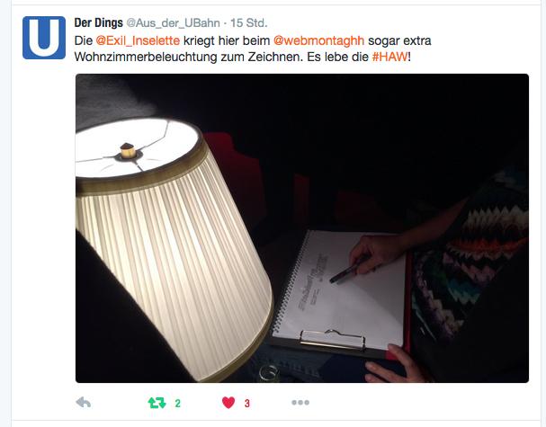 Das Bild von @Aus_der_UBahn zeigt die extra Lampe, die mir Licht zum Sketchnoten spendet.