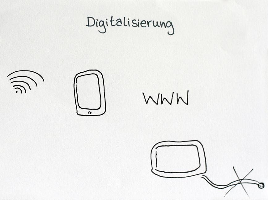 Das WLAN-Symbol, ein Smartphone und die Buchstaben WWW. Gezeichnet in einem Sketchnotes-Workshop. Urheber*in unbekannt.