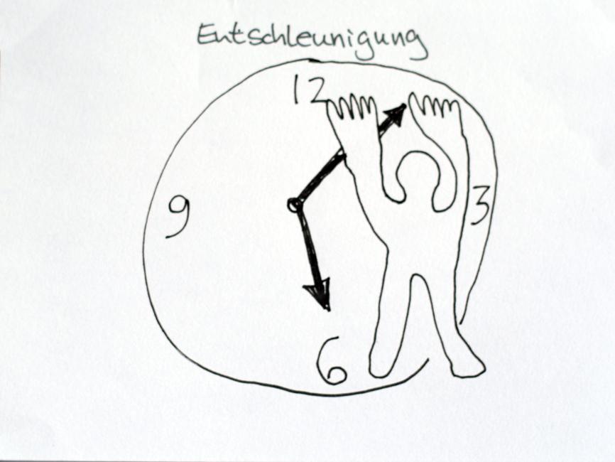 Jemand stemmt sich gegen die Zeiger der Uhr.Gezeichnet in einem Sketchnotes-Workshop. Urheber*in unbekannt.