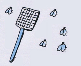 Gekritzelte Fliegenklatsche und einige Fliegen. Sketchnotes und Foto: © Ania Groß