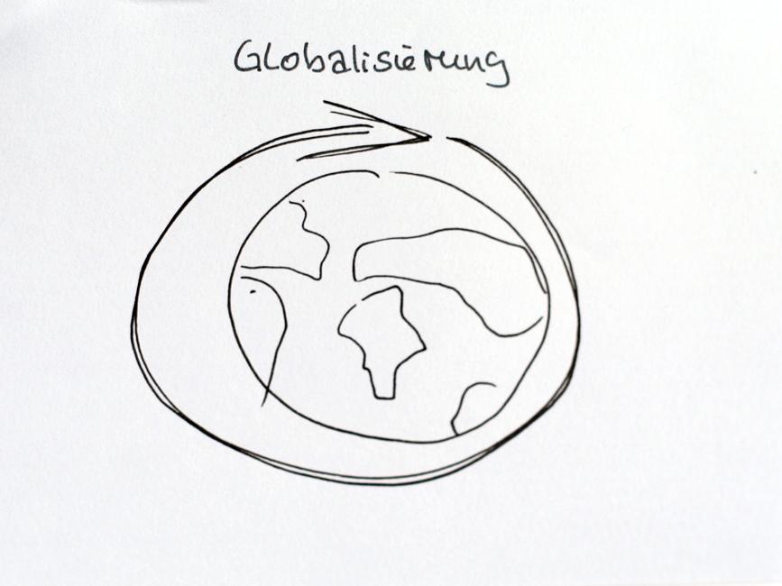 Ein Pfeil umschließt einen Globus.Gezeichnet in einem Sketchnotes-Workshop. Urheber*in unbekannt.