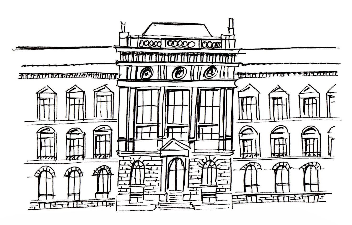 Die Ostfassade des Museums in schnellem Sketchnotes-Stil. © Illustration: Ania Groß