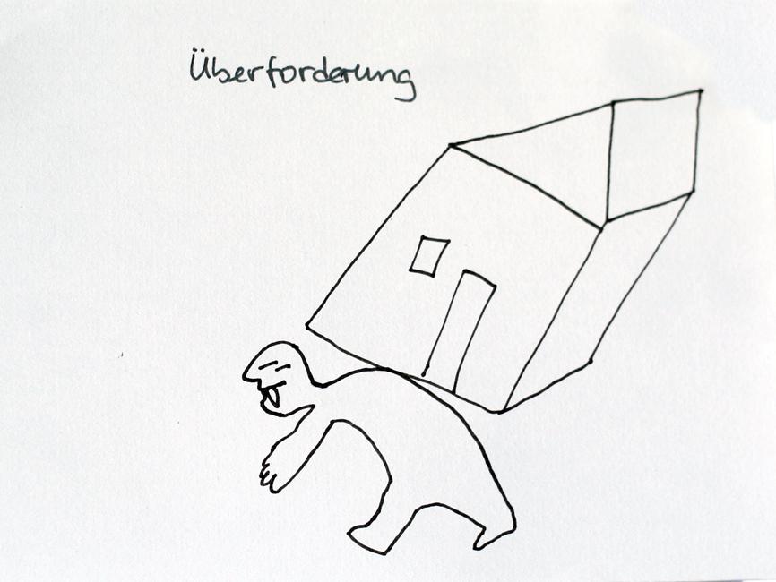 Eine gebückte Person trägt ein ganzes Haus. Gezeichnet in einem Sketchnotes-Workshop. Urheber*in unbekannt.