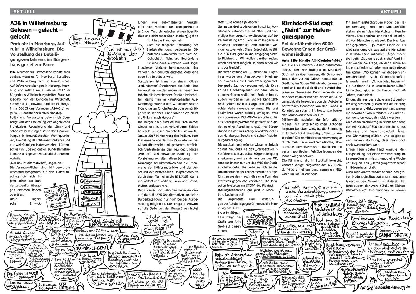Das Bild zeigt die Doppelseite aus dem Wilhelmsburger InselRundblick. Über Sprechblasen, die alle relevanten Argumente gegen und einige für die Hafenquerspange enthalten, wackelt ein hoher Turm mit den Verantwortlichen, die sich weigern, die guten Arguemte zu hören. Sketchnotes: © Ania Groß