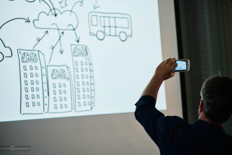 """Verbindungen zwischen einer """"Wolke"""" und Fahrzeugen und anderen geräten. Sketchnotes: Ania Groß, Foto: Stefan Groenveld"""
