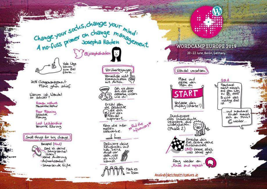 Auf der Sketchnote sind sowohl die Vorüberlegungen für einen Change-Management-Prozess mit Bildern visualisiert wie auch der Prozess selbst. Sketchnotes: © Ania Groß