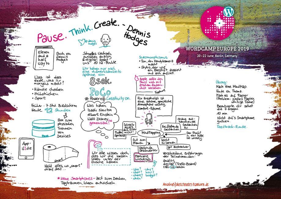 In Dennis Hodges' Workshop ging es einerseits darum, dass wir zuviel Zeit mit Computern und mobilen Devices verdaddeln, andererseits hat er uns anhand der Methode Mind Mapping gezeigt, wie wir Projekte planen können. Die Fragen, die die Mind-Map beantworten sollte lauten: Wer? Was? Wo? Wann? Warum? Wie? Welches Budget? Sketchnotes: © Ania Groß