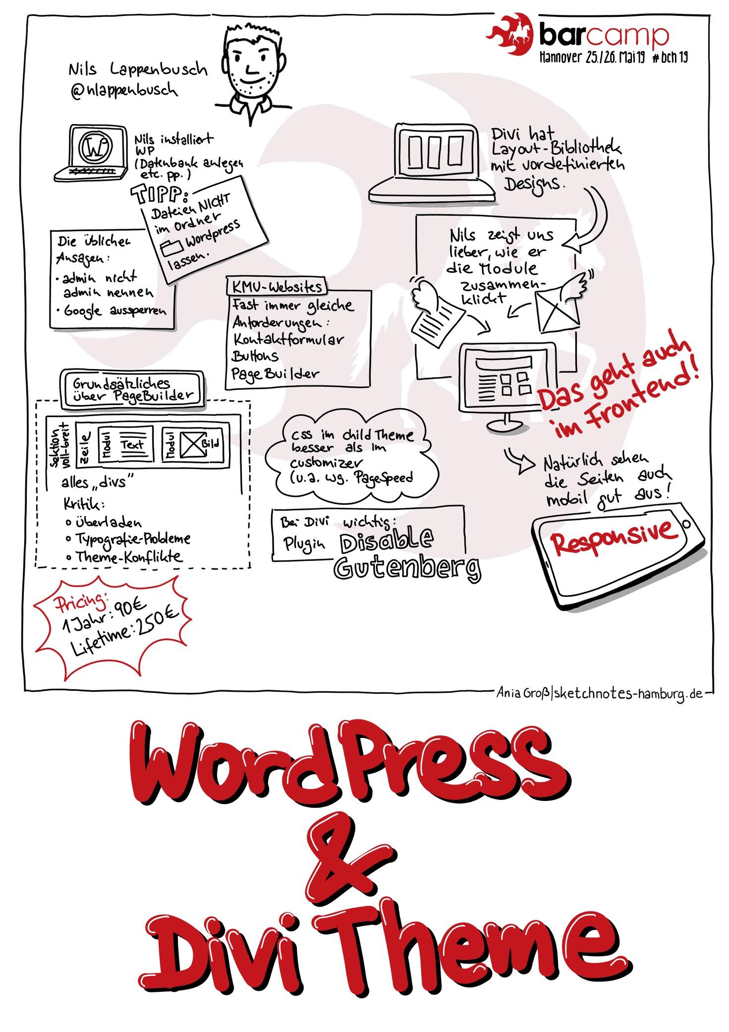 Da sich das WordPress-Theme Divi nicht mit dem neuen Gutenberg-Editor verträgt, hat uns Nils erklärt, wie wir Gutenberg eliminieren. Sketchnotes: © Ania Groß