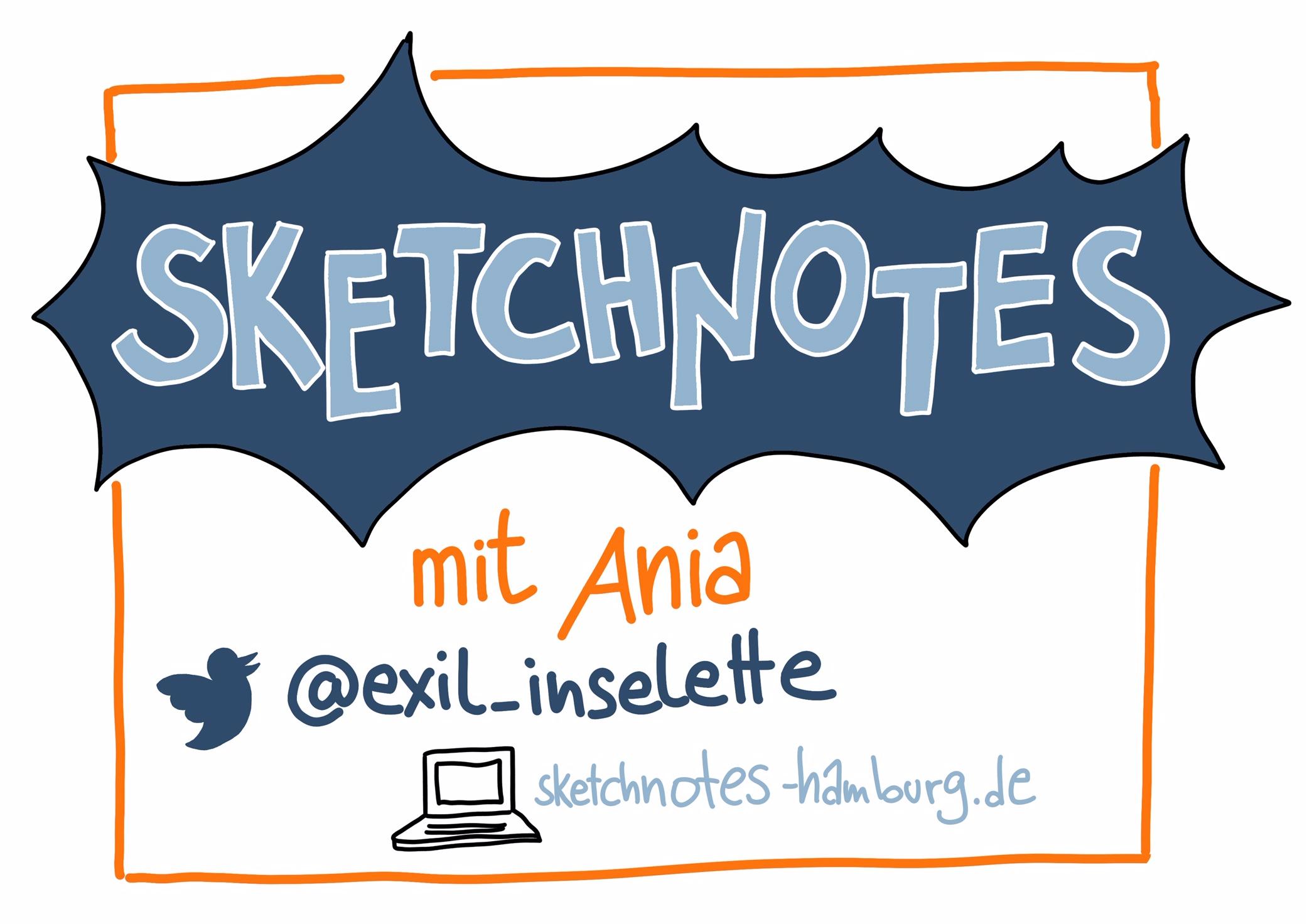 Schild für meinen eigenen Minivortrag: Sketchnotes mit Ania.Sketchnotes: © Ania Groß