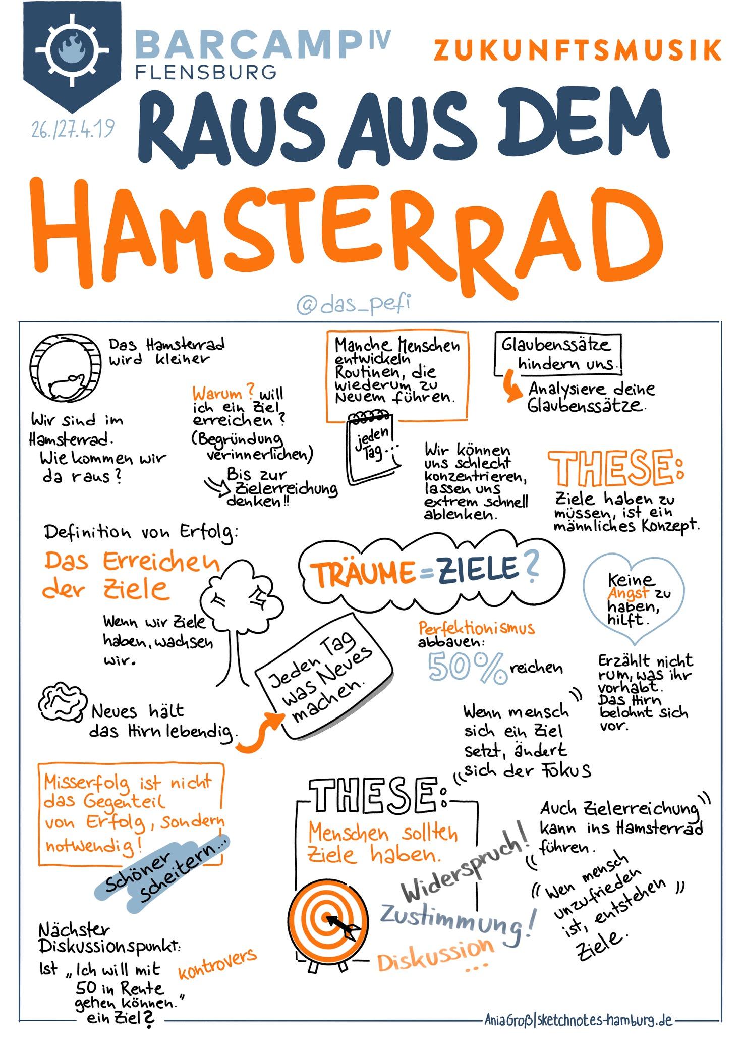 Peter macht aus dem Hamsterrad eine Karriereleiter. Definition von Erfolg: Die Ziele sind erreicht.Sketchnotes: © Ania Groß