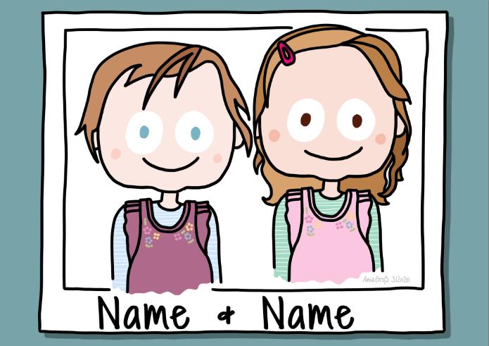 zwei kleine Mädchen. Köpfe und Oberkörper.