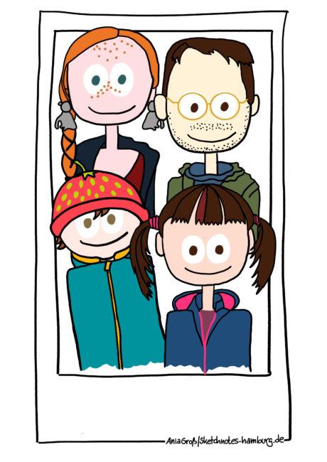 Mutter, Vater, Säugling, Kleinkind: Die ganze Familie auf einem Bild. Illustration: Ania Groß